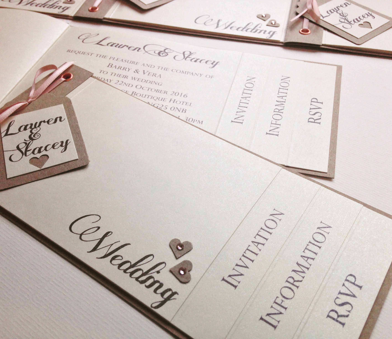 Pretty vintage cheque book wedding invitation in Ivory pearl ...