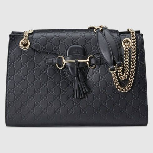 d7595e9b2a0773 GUCCI Emily Guccissima Chain Shoulder Bag. #gucci #bags #shoulder bags  #leather #lining