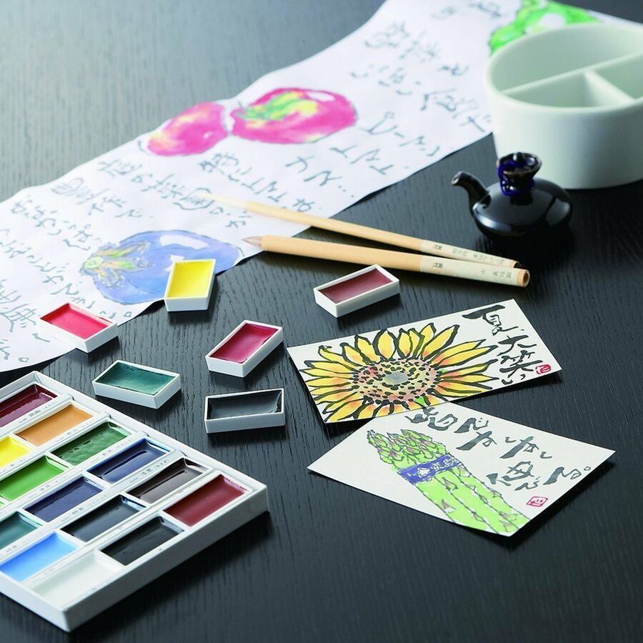 Kuretake Gansai Tambi Japanese Watercolor Paint 24 Colors Set Mc20