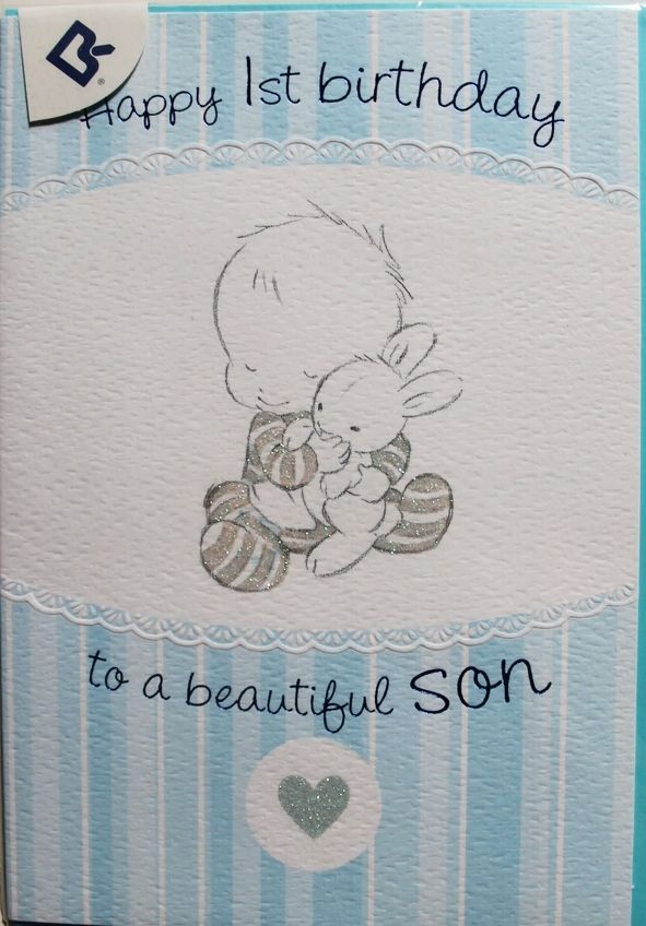 Details about happy 1st birthday to a beautiful son birthday card details about happy 1st birthday to a beautiful son birthday card male baby theme brand new bookmarktalkfo Images
