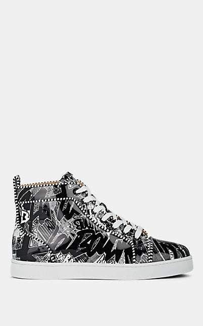 c250a96b2ed Christian Louboutin Men's Louis Graffit-Print Leather Sneakers ...