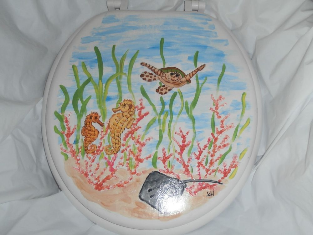 Peachy Hand Painted Under The Sea Standard Toilet Seat Turtle Lamtechconsult Wood Chair Design Ideas Lamtechconsultcom