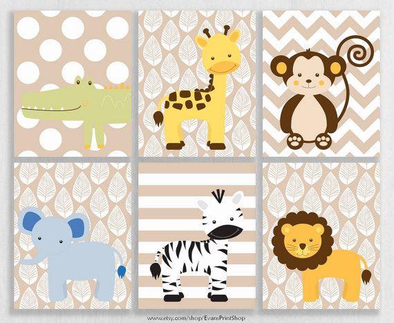 canvas jungle nursery decor set of 6 jungle buddies baby safari