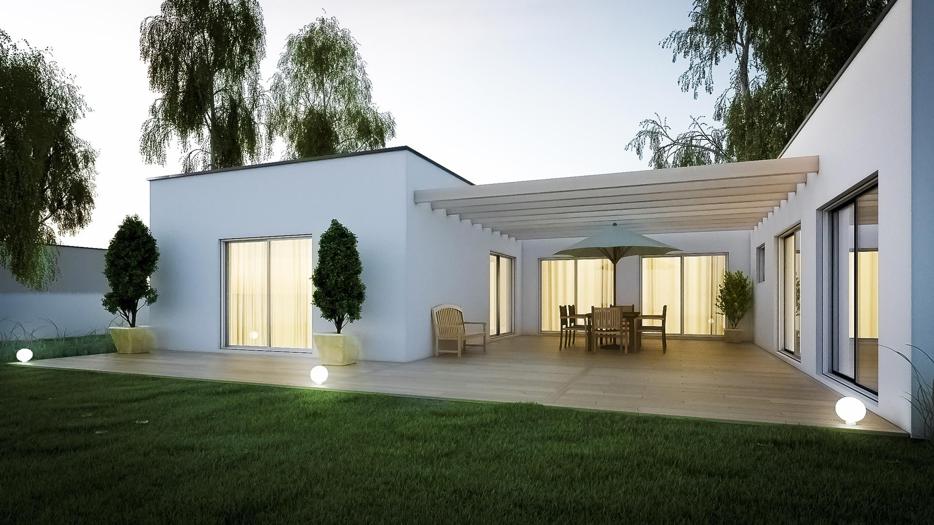 Extension d'une maison design et moderne avec terrasse en bois et pergola | Agrandissement ...