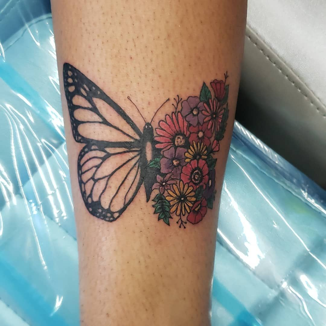 1 Watercolor Artist In The Bx On Instagram Half Butterfly Half Flowers On An Awesome Client Inklife Tattoo Watercolor Artist Butterfly Tattoo Cute Tattoos