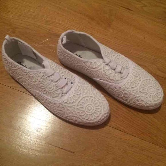 Canvas crochet sneakers New. Crochet. Canvas sneakers. No trades Charlotte Russe Shoes Sneakers