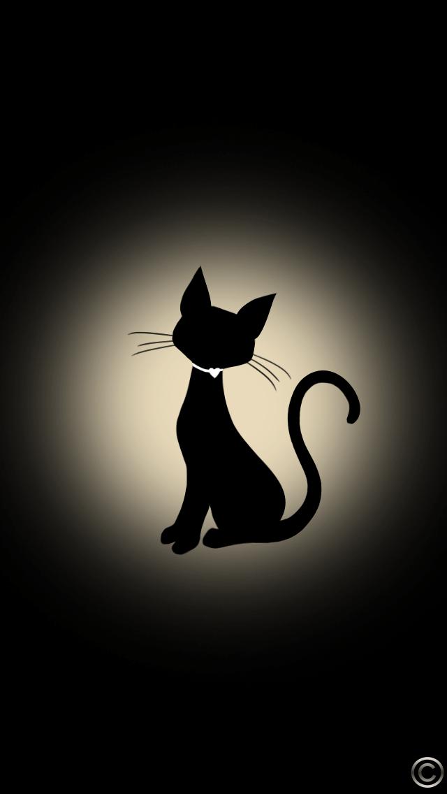 おしゃれなネコのイラスト壁紙 スマホ壁紙 Iphone待受画像ギャラリー 黒猫のアート 猫の壁紙 キャットアート