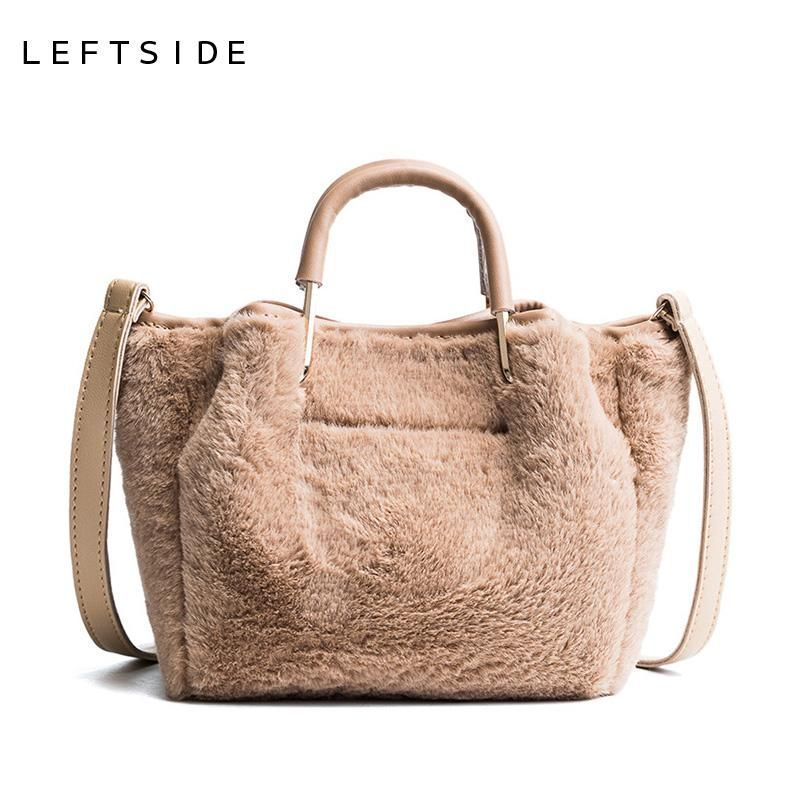 LEFTSIDE 2017 Fashion Soft Faux Fur Small Winter Short Handle Handbag    Cross-body Tote 25d92280fa91e