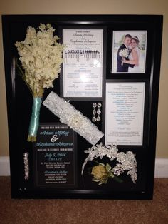Wedding shadow box. Put invite, front and back of programs, flowers from me and …