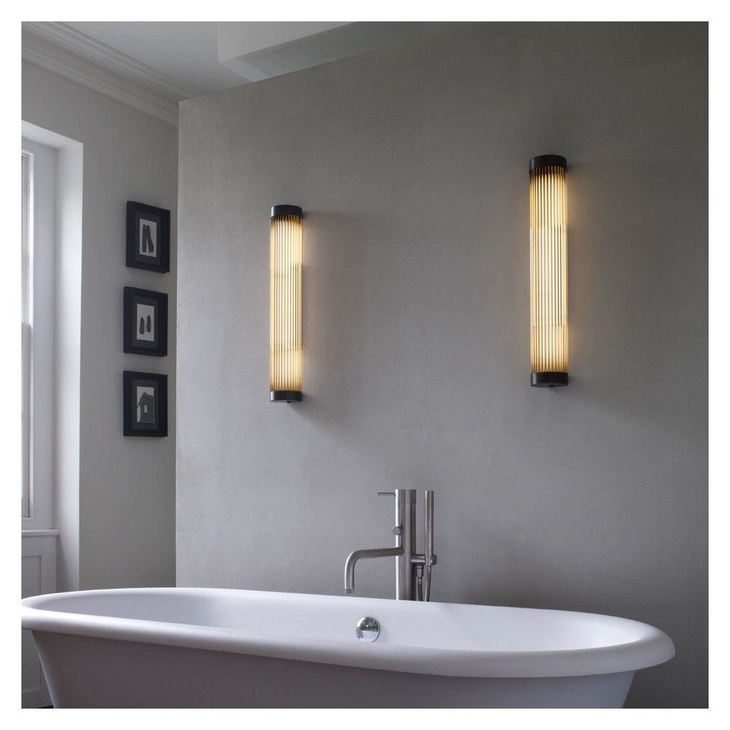 Pillar Bathroom Wall LED Light 40cm Weathered Brass IP44 | Pinterest ...