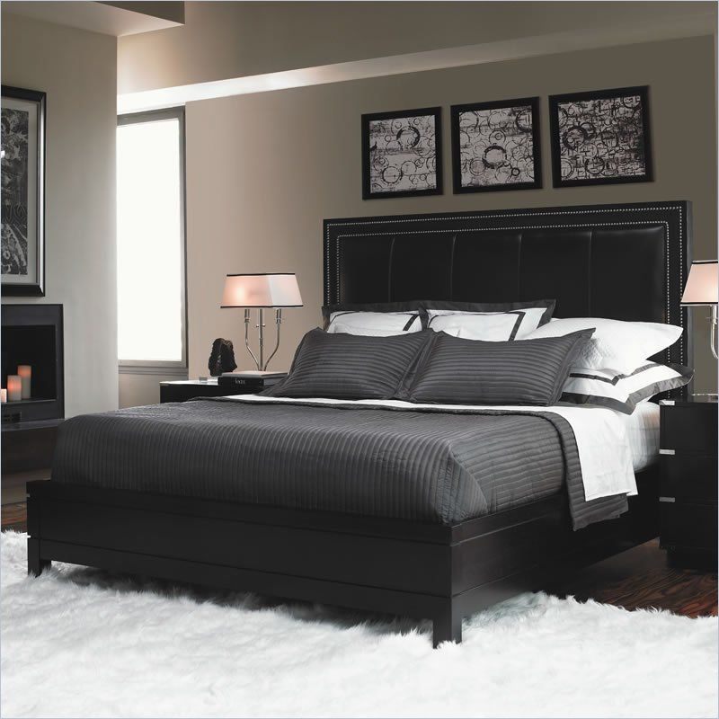Contemporary Bedroom Furniture Sale: Gray Bedding With Black Frames