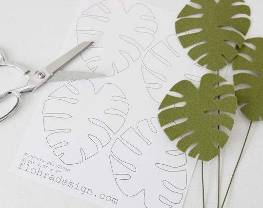 Monstera Deliciosa Leaf Printable Pdf Template Felt