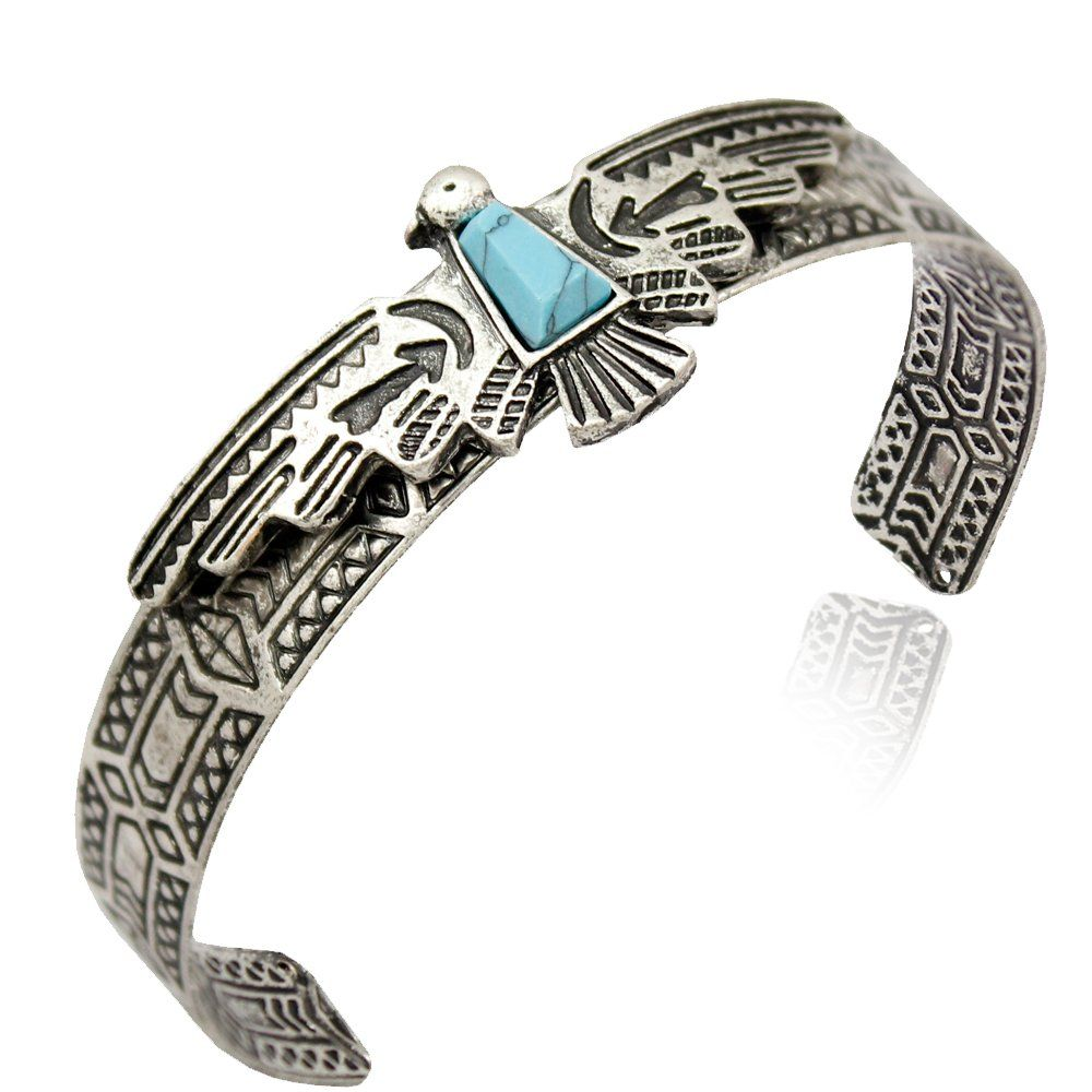 Silver plated vintage tribal southwest eagle faux turquoise zuni
