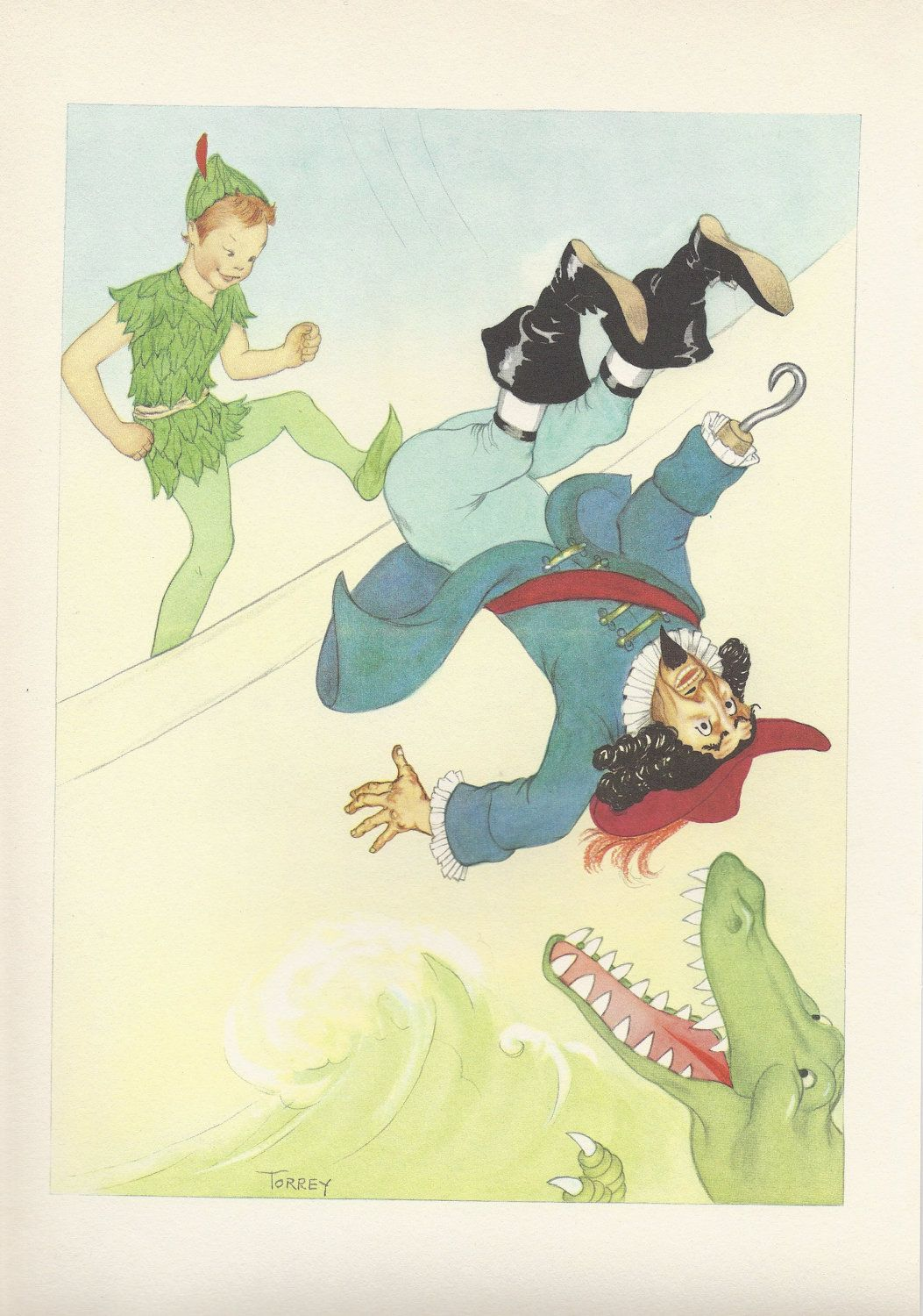 Captain Hook, Peter Pan, Crocodile, Vintage Illustration, 1950s ...