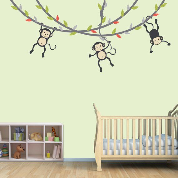 Hanging Monkey Wall Decal Vines