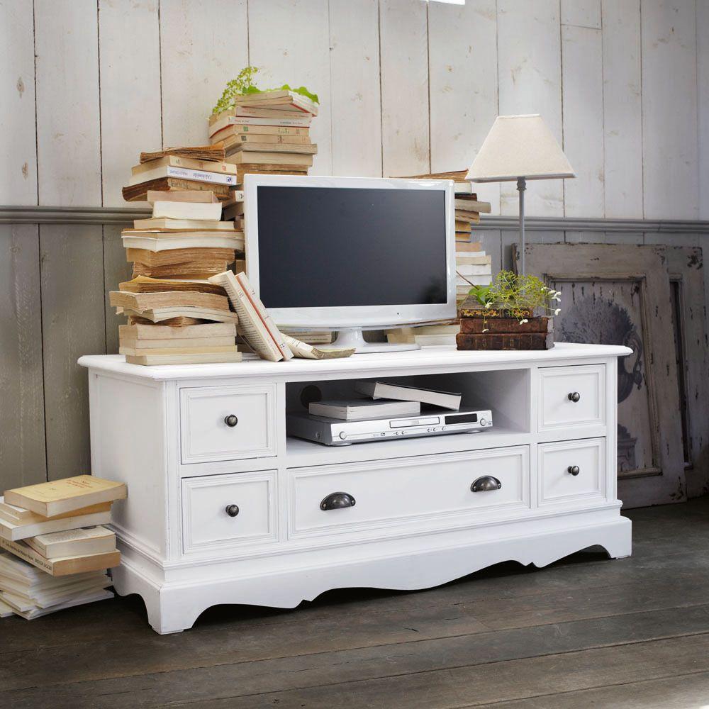 Mueble de tv blanco de paulonia muebles - Mueble tv maison du monde ...