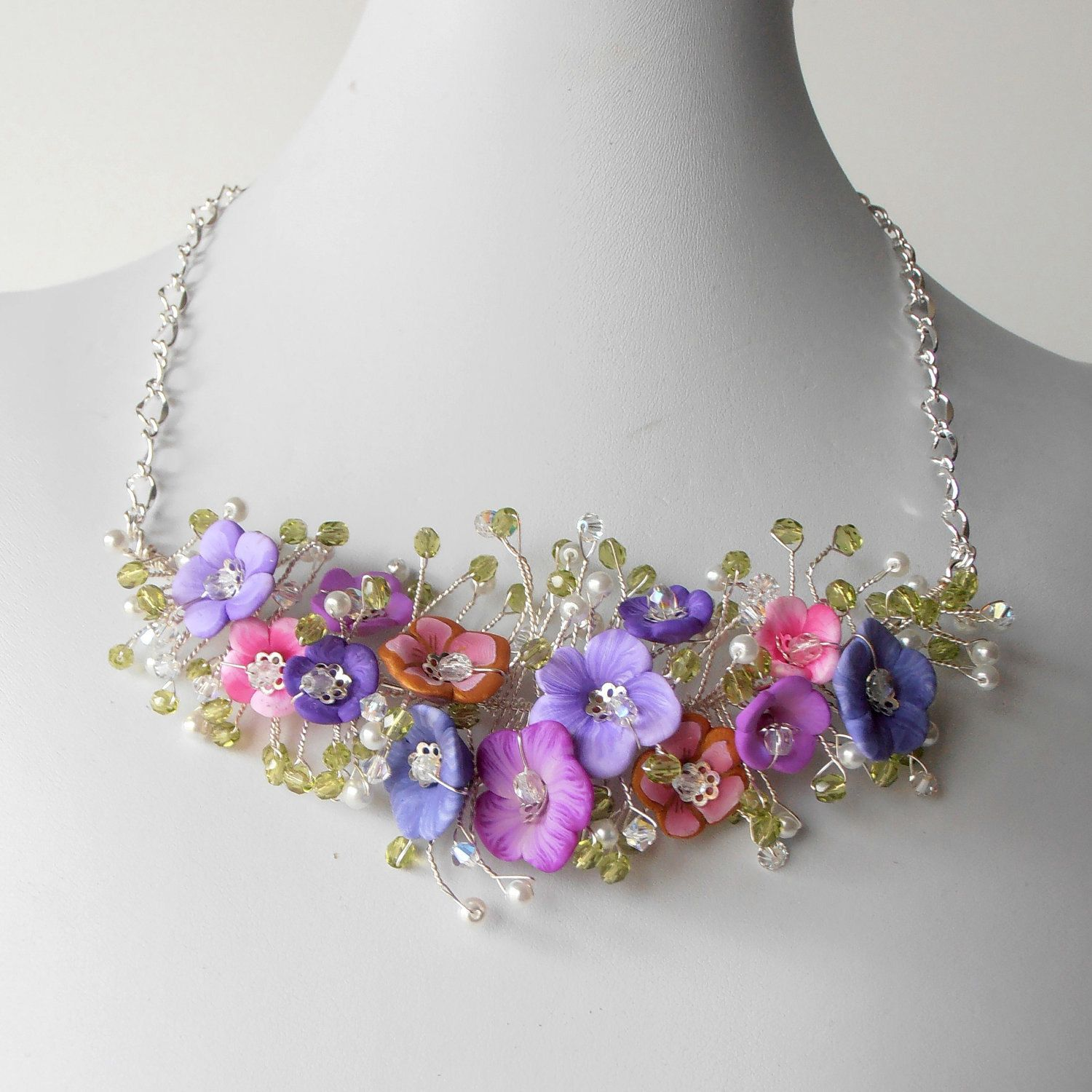 Bridal Jewelry Flower Necklace Pink and Purple Beaded Wire Necklace ...