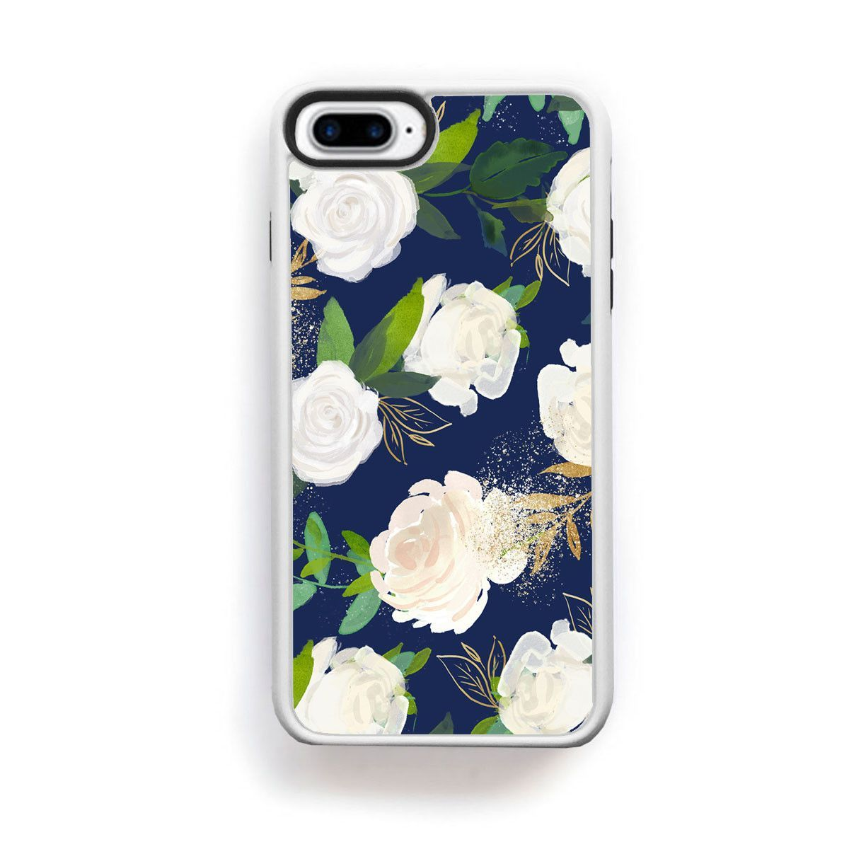 White rose large buds with green gold leaves on navy blue for iPhone 7 Plus