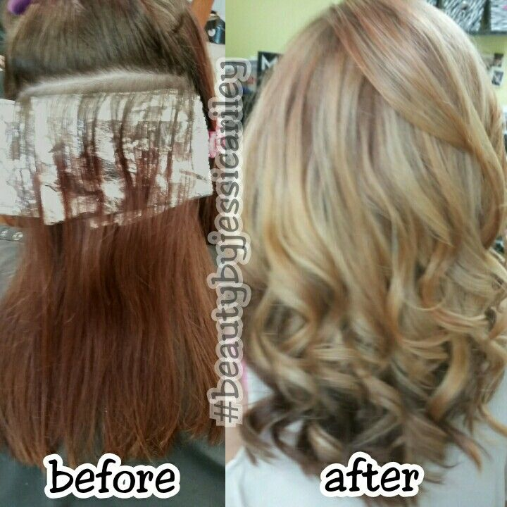 Red hair to blonde hair highlights #beautybyjessicariley
