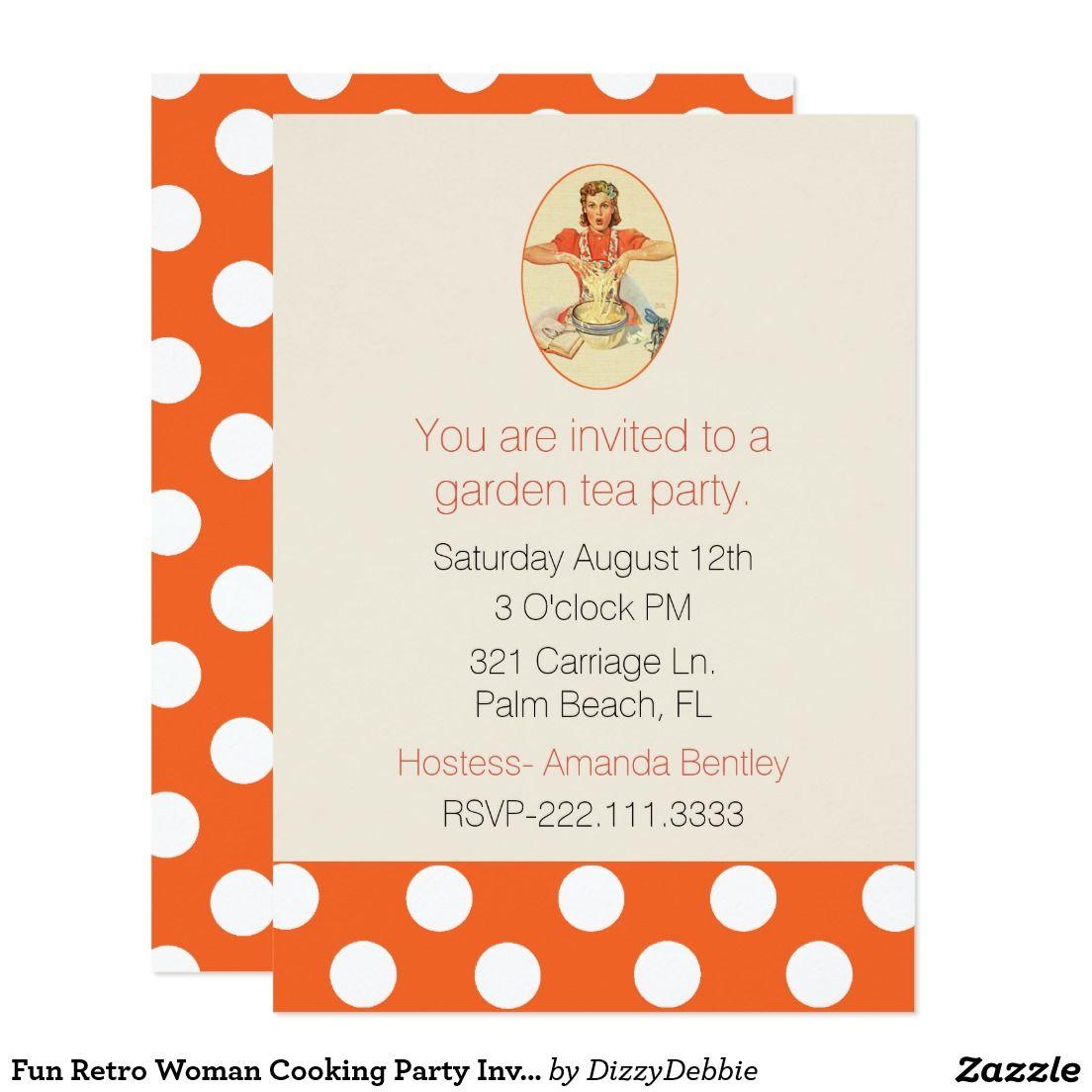 Fun Retro Woman Cooking Party Invitation | Zazzle invitations, Fun ...