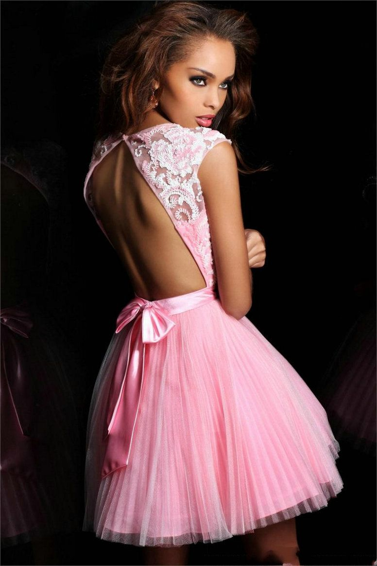 Sexy Short Dresses 2013 | Bateau Pleated Sexy Back Pink Short ...