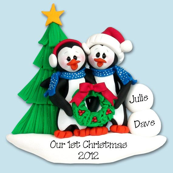 Penguin Family Of 2 Couples Handmade By Personalizedornament 13 95 Christmas Clay Christmas Ornaments Family Ornaments