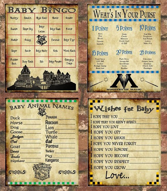 Elegant Harry Potter Baby Shower Game Pack By FranklinStationary On Etsy