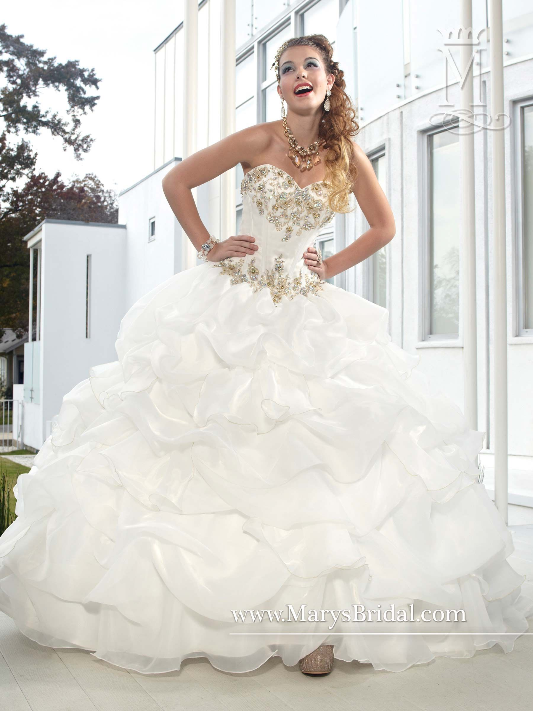 STYLE: F14-4450-PRICE$799.00 Collection: Quinceanera - Beloving  Description: Strapless organza quinceanera ball gown