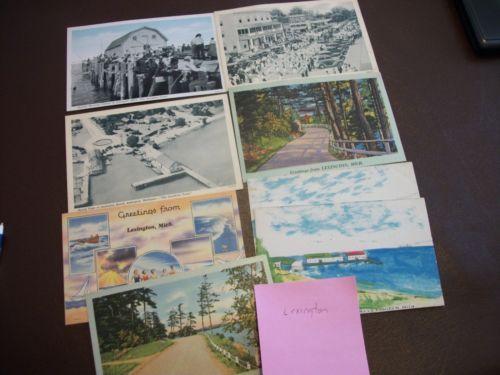 Lexington Mi Michigan Vintage Postcard Photo Linen Lot Of 8