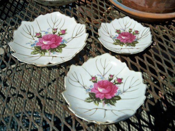 Vintage Floral Roses China Dishes Set of 3 Vanity Candy Soap Japan by BlackRain4