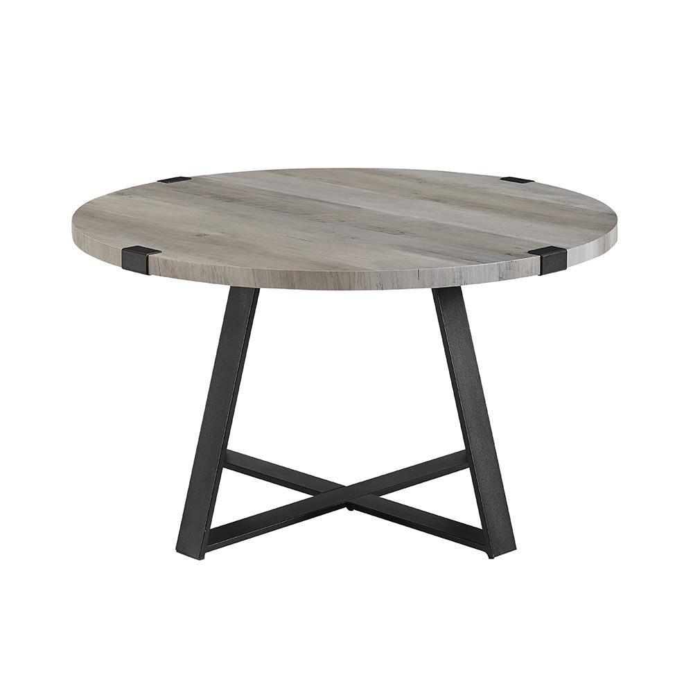 Walker Edison Urban Industrial 31 In Gray Wash Black Medium Square Mdf Coffee Table Hdf30mwctgw The Home Depot Round Coffee Table Rustic Round Coffee Table Coffee Table [ 1000 x 1000 Pixel ]