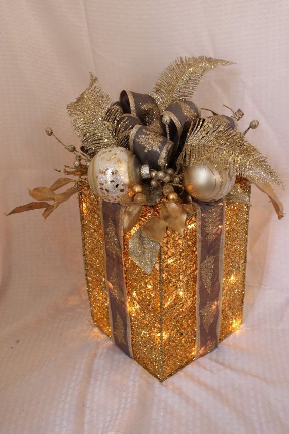gold and glitz holiday light up gift box