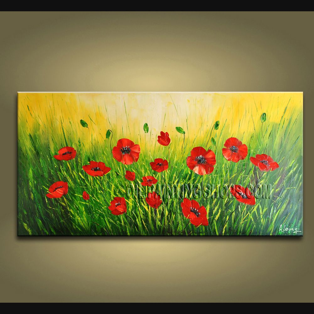 Elegant Contemporary Wall Art Floral Painting Poppy Contemporary ...