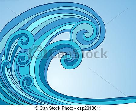 Vector - Blue Tsunami Wave Two - stock illustration, royalty free illustrations, stock clip art icon, stock clipart icons, logo, line art, EPS picture, pictures, graphic, graphics, drawing, drawings, vector image, artwork, EPS vector art