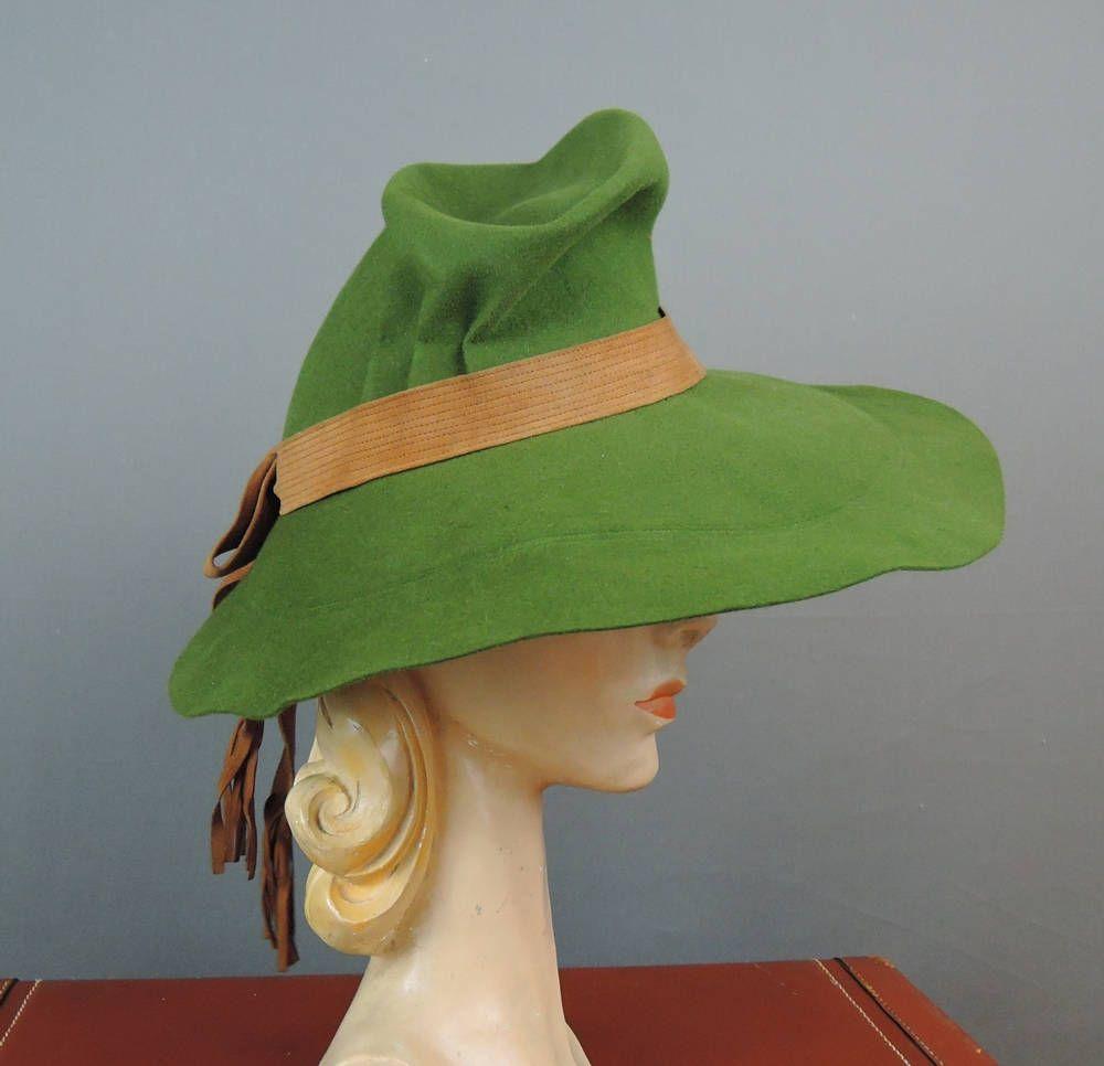769d28b08bd9 Vintage 1940s Hat Wide Brim Green Felt Fedora , Registered Model, Saks  Fifth Avenue