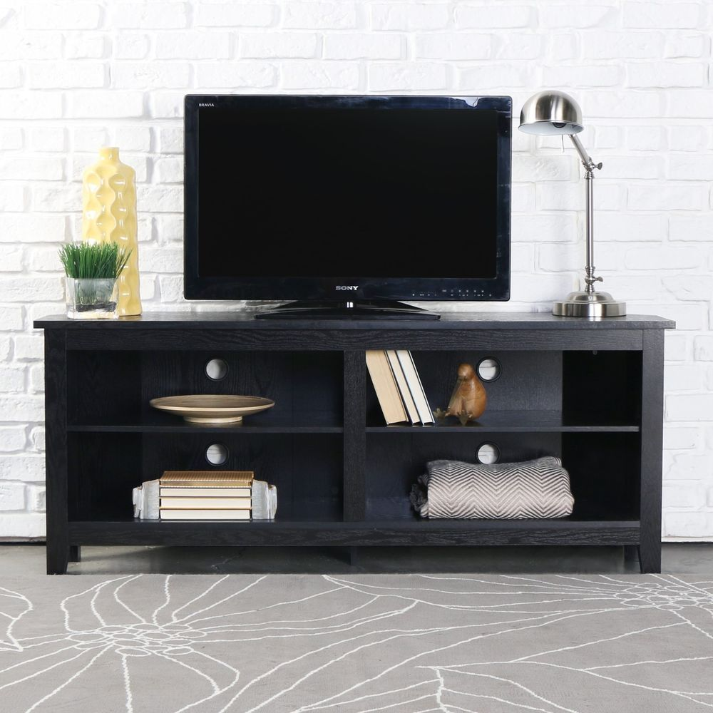 Wood Corner TV Stand Entertainment Center Media Console Table
