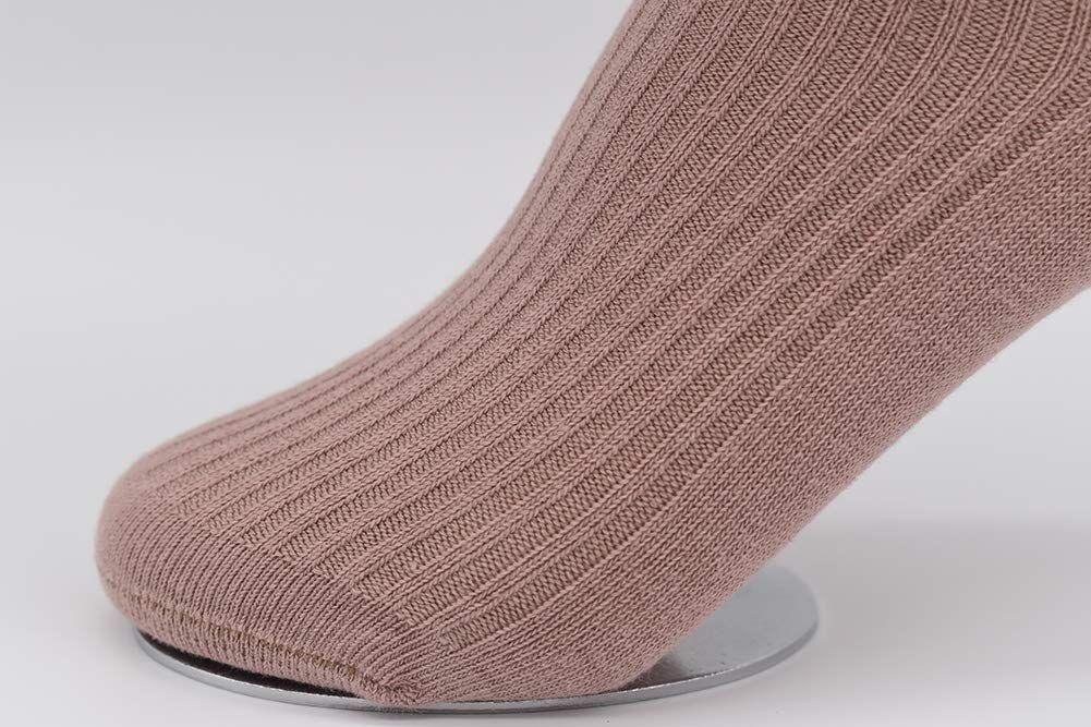 CeeDeek Baby Girls Dress Socks Vertical Stripes Ruffle Socks 4 Pack Girls Socks