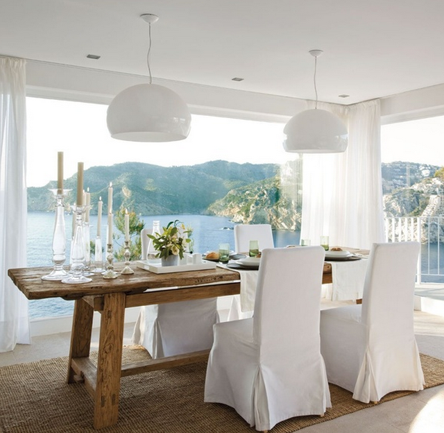 Coastal Style Dining Room With A Sea View