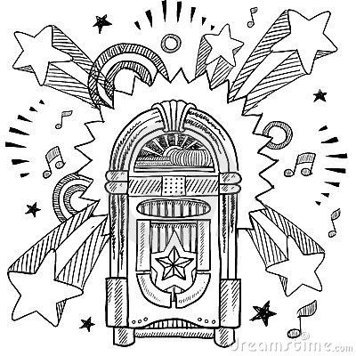 Retro Jukebox And Vinyl Lp Sketch Coloring Books Coloring Pages Bullet Journal Themes