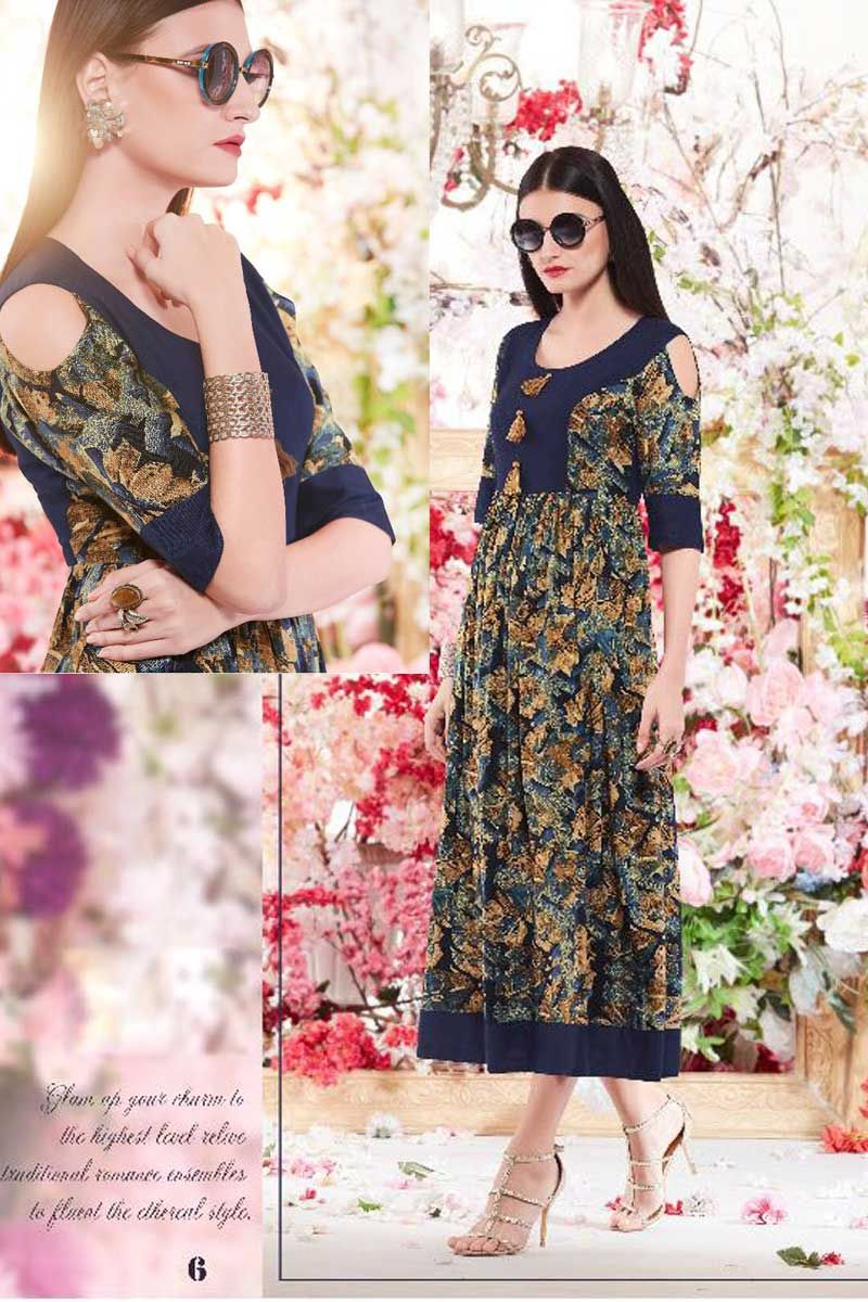 Blue-Stylish-Rayon-Printed-Cold-Shoulder-Kurti-With-Pom-Pom-6-4552 ...