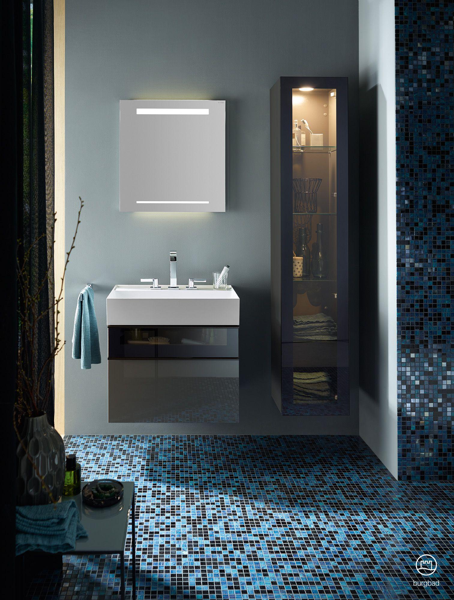 Burgbad Yumo Small Bathroom With Furniture In Grey High Gloss