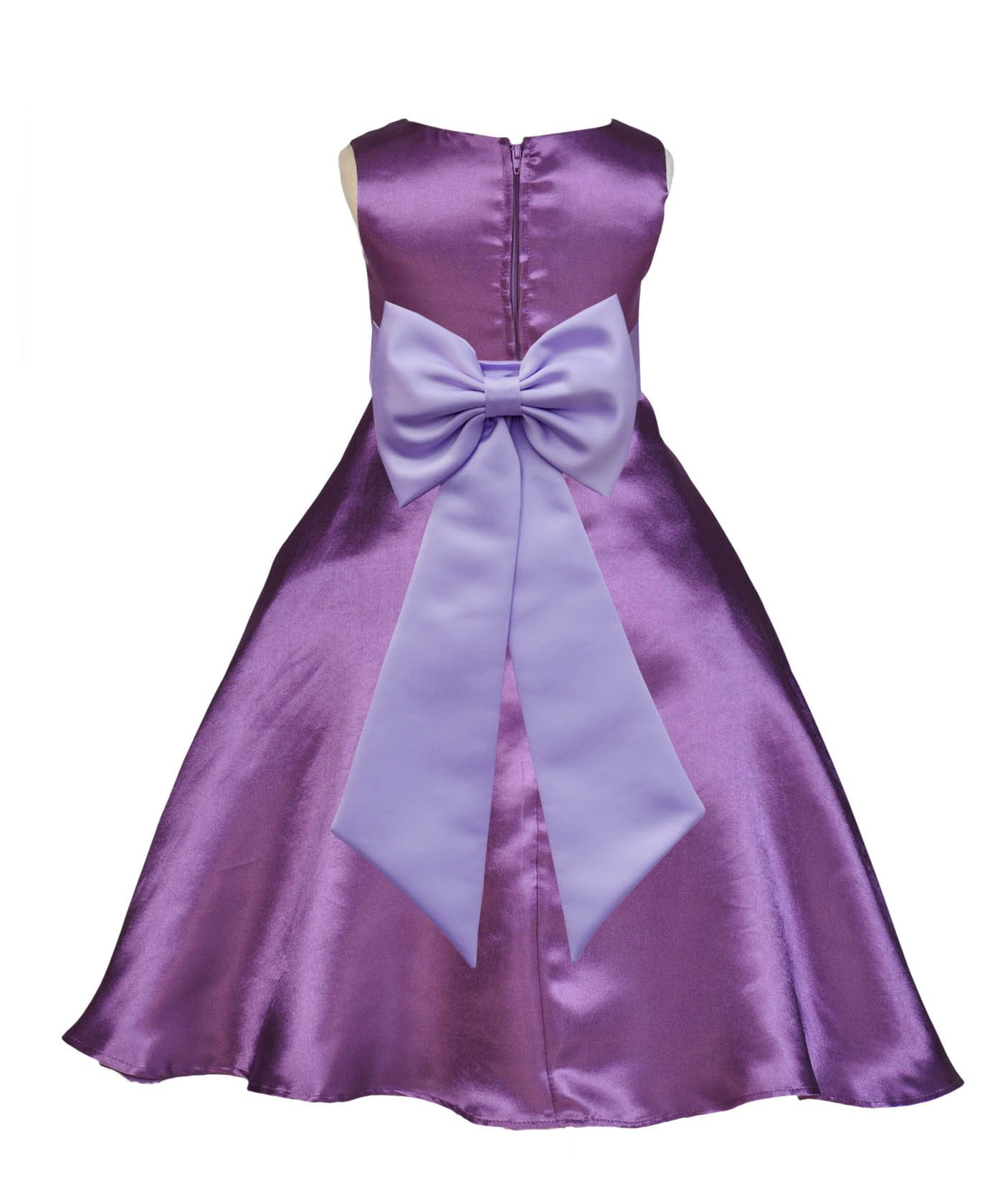 Lilac dress for wedding  Purple ALine Satin Flower Girl Dress Wedding Pageant Communion
