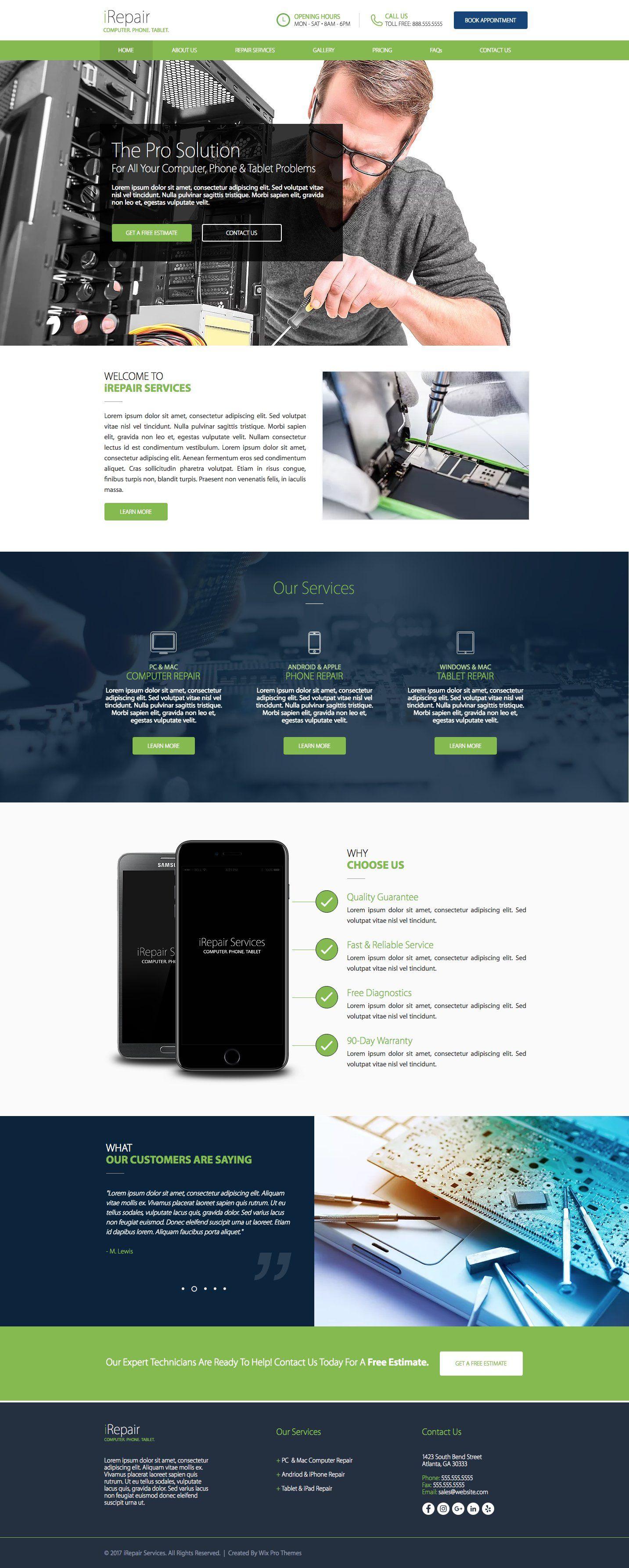 Computer Phone Repair Template Wix Website Design Website Themes Wix Templates