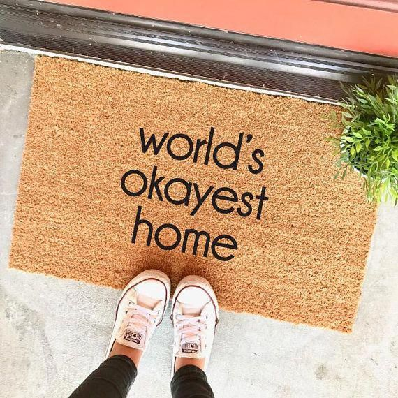 Photo of world's okayest home doormat – 18×30″ – welcome mat – funny doormat – home decor – apartment decor – housewarming – gag gift – cute doormat