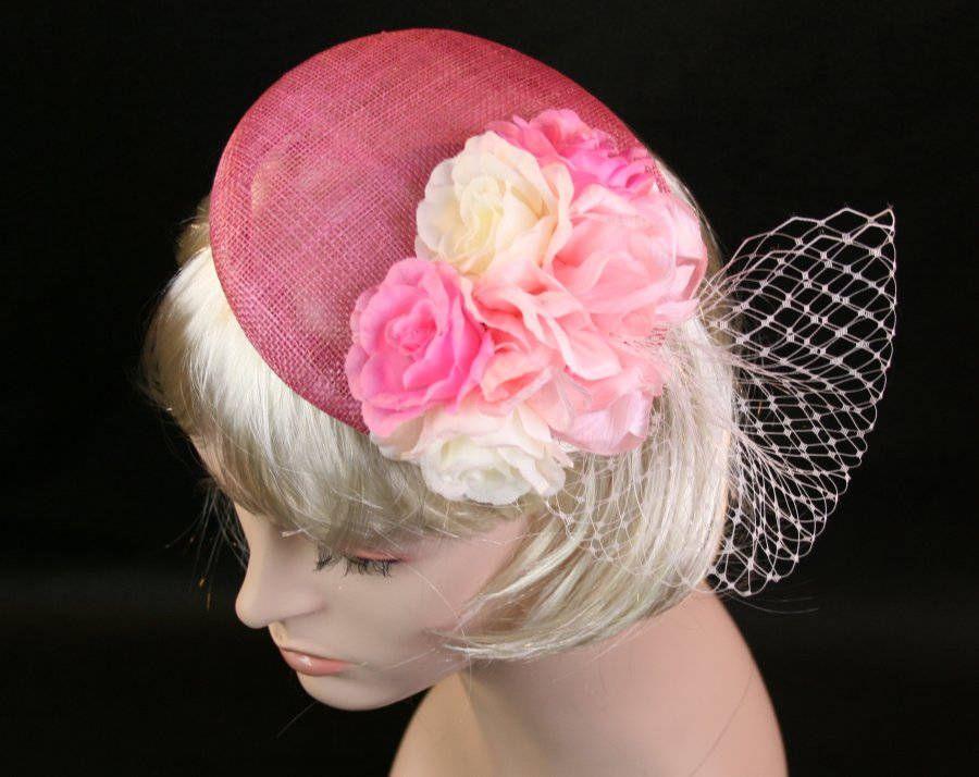 2a622d1052303 Rose Pink Fascinator Hat Rose Pink Hat for wedding pink hat pink races hat  Kentucky Derby Hat Pink Wedding Hat Ascot Hat Garden Party Hat by  HettieJane on ...