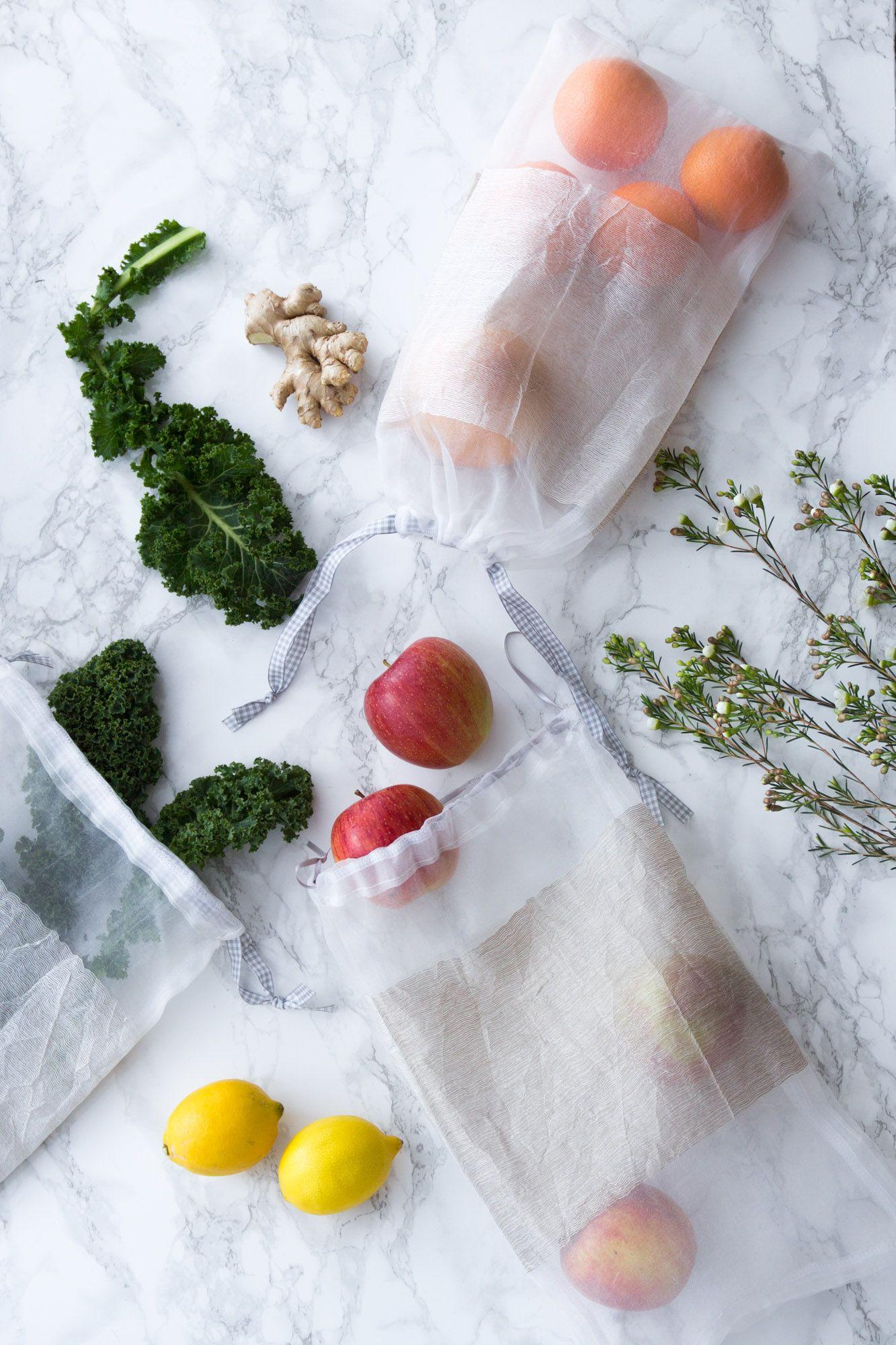 Beutel für Obst- und Gemüse nähen - Upcycling aus alten Gardinen