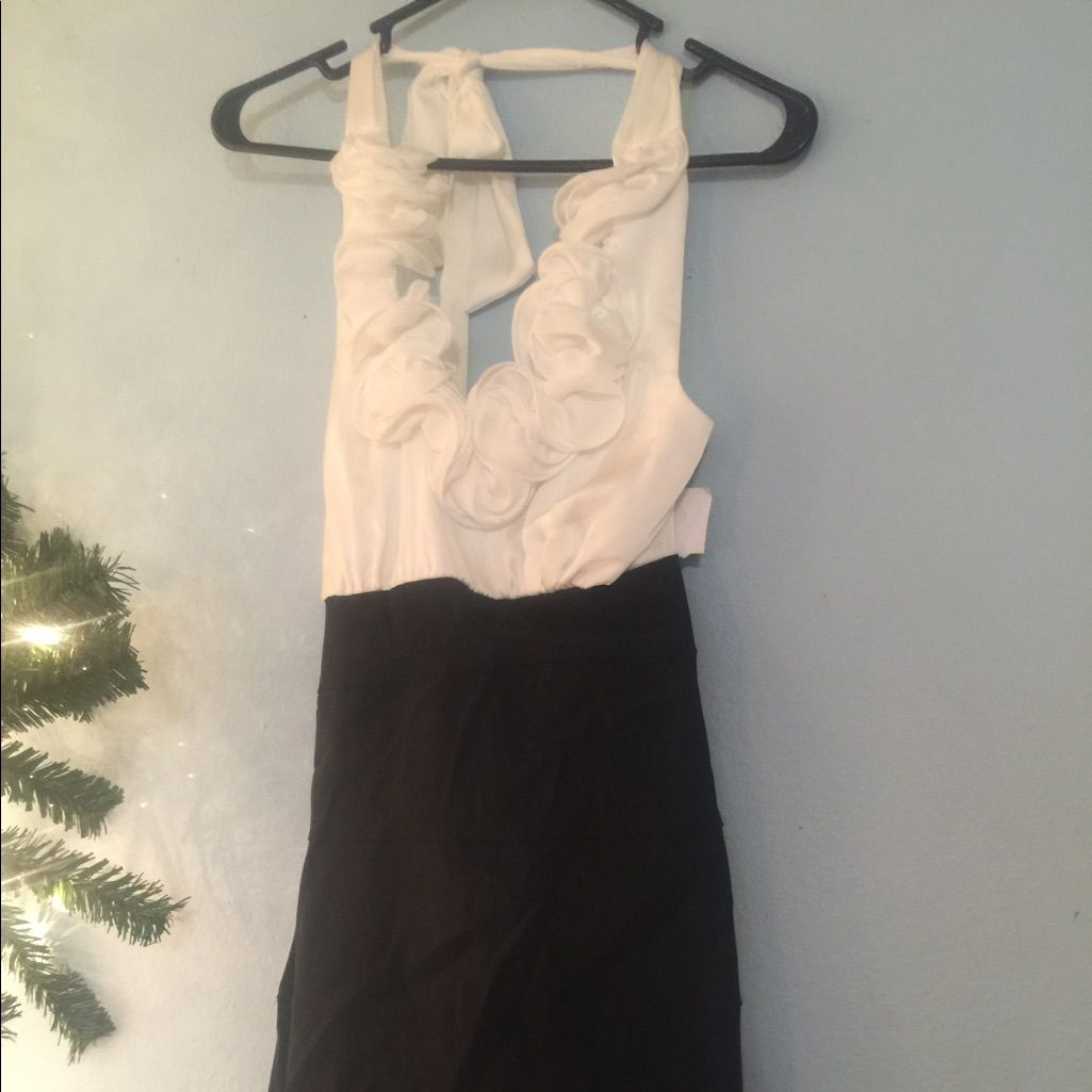 Brand new black and white evening halter dress products