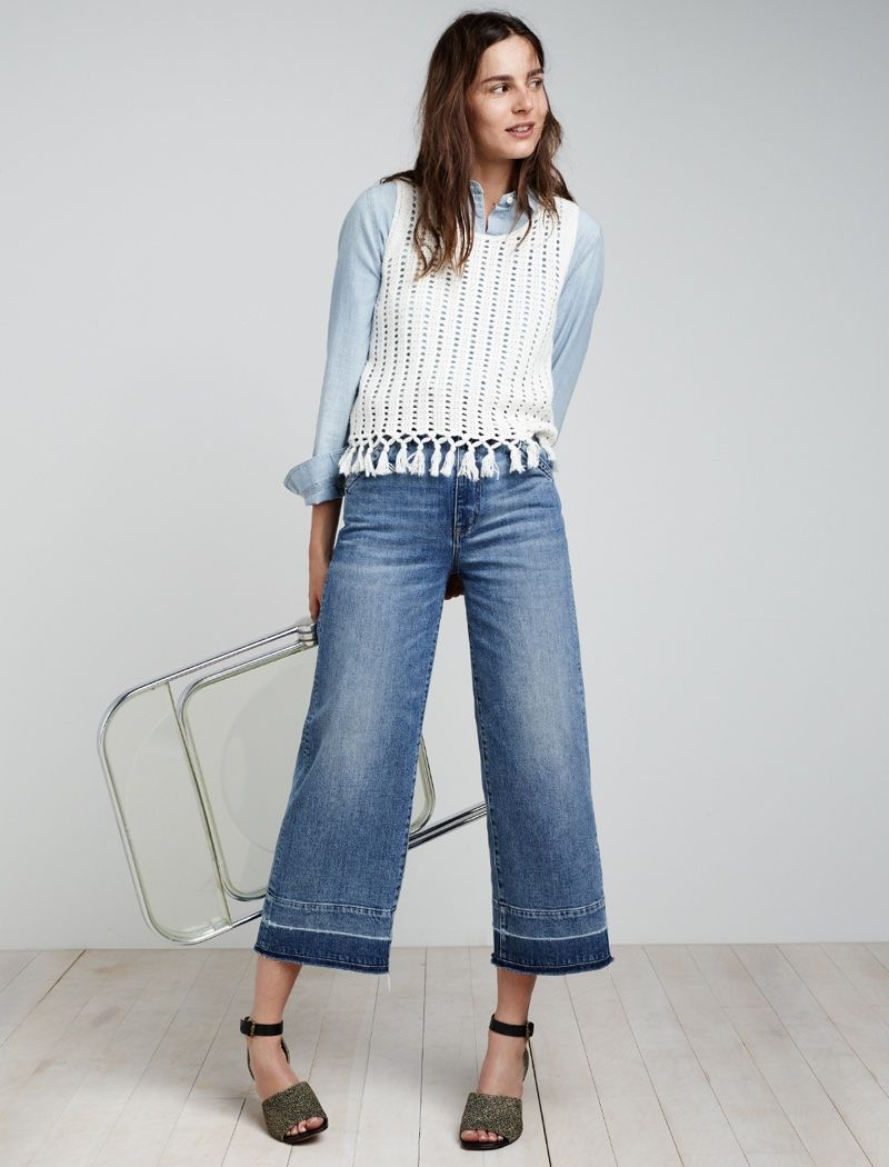 e1c24c81cc2 Madewell Wide-Leg Crop Jeans, Fringe Sweater Tank, Chambray Ex-Boyfriend  Shirt and Alena Sandal