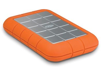 Hand-held external hard drive. Drop-proof up to 2 meters. Great for small desks and even better for clutzy people.