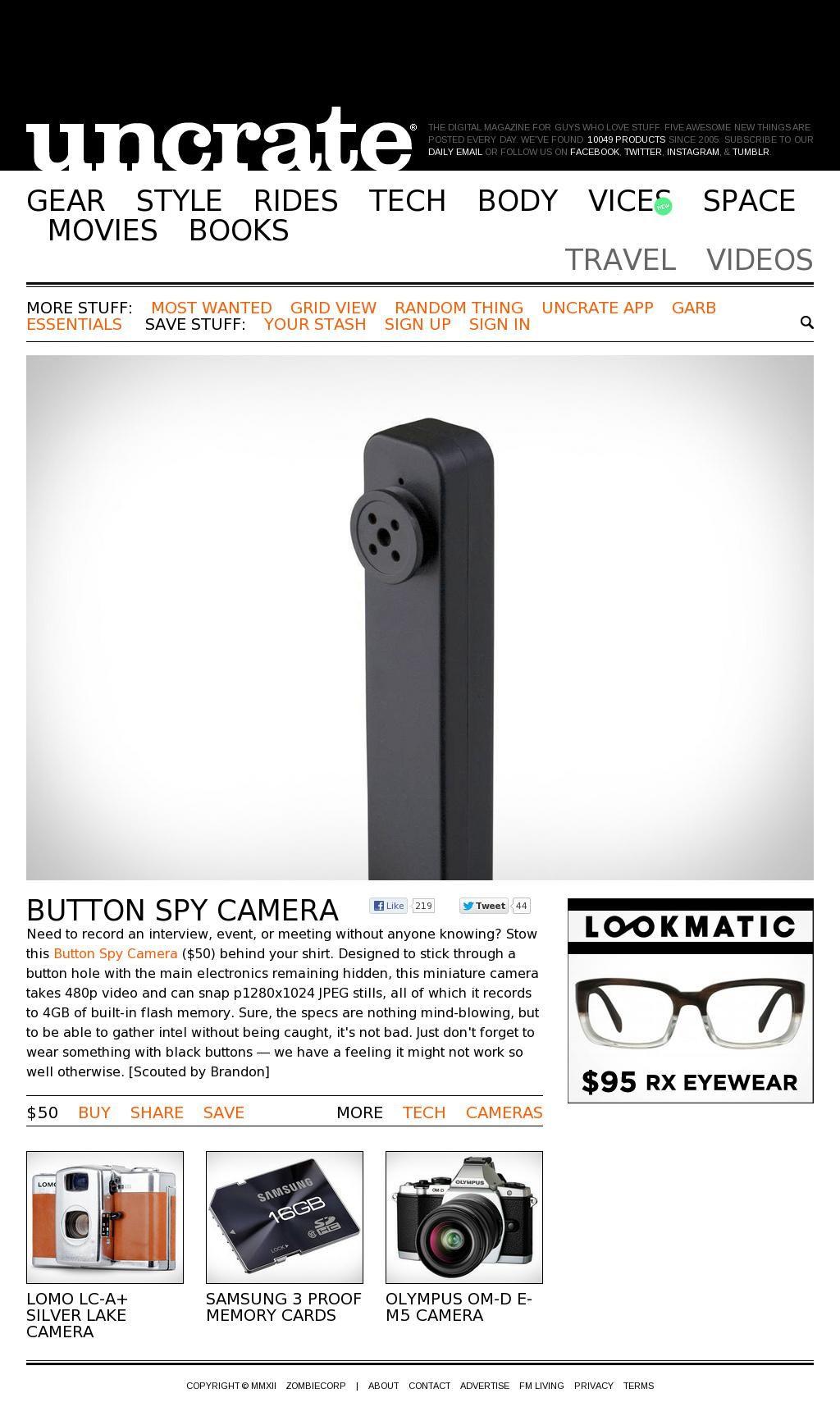 The Website Uncrate Com Stuff Button Spy